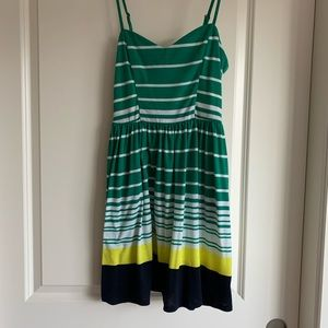 Xhilaraton green yellow navy white dress